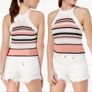 Roxy white Nomad World Crochet Halter Top, Size L